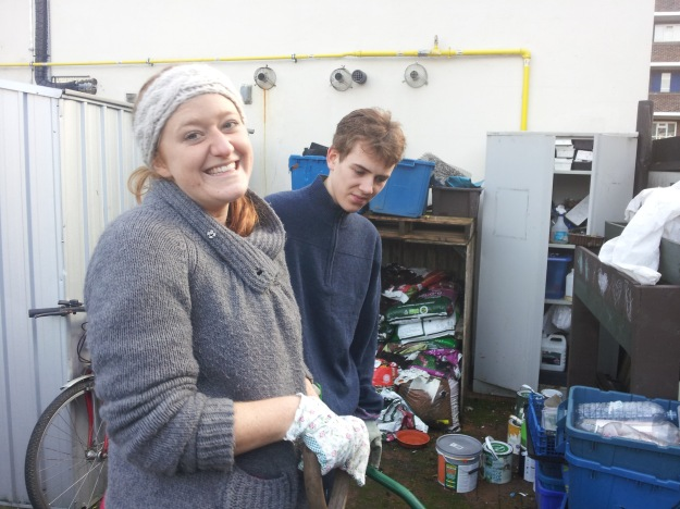 Hannah and Daniel getting stuck into the compost.